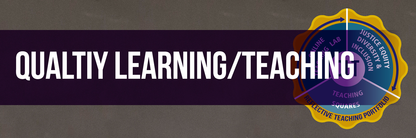 Quality Learning & Teaching banner a graphic of a pie split into three section and a border