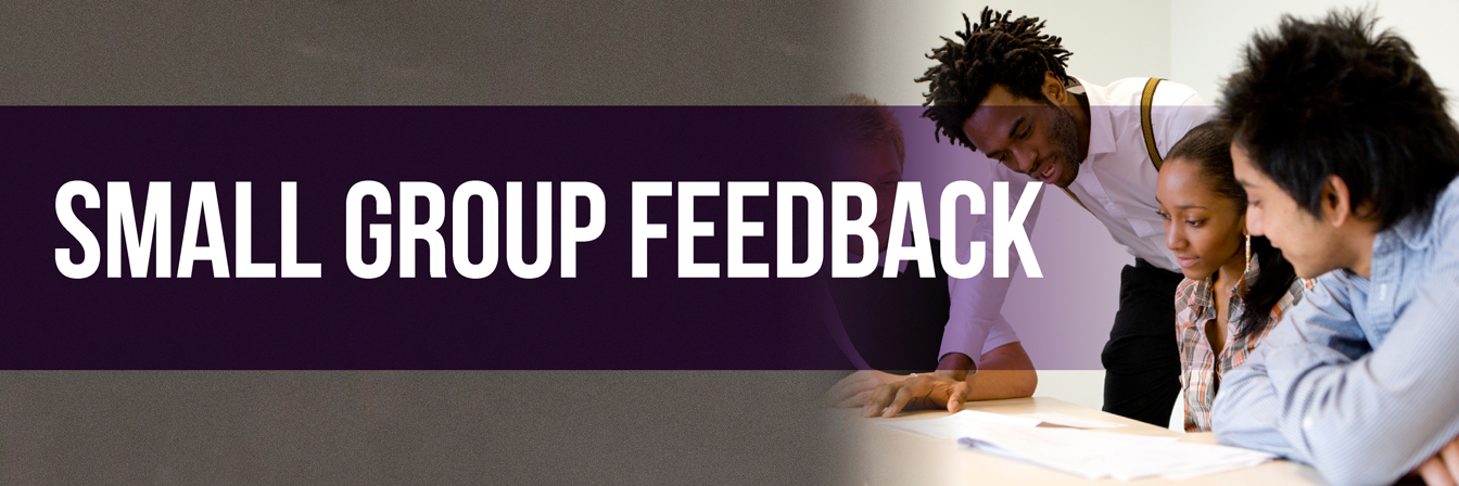 Small Group Instructional Feedback banner African American profession standing next to three seated students.