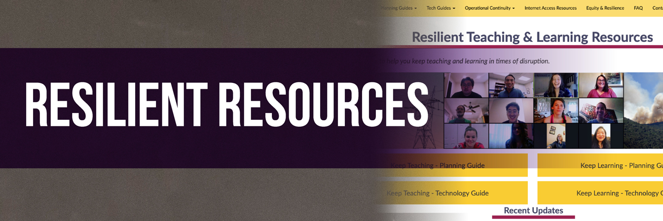 Resilient Teaching & Learning Resources banner screen capture of a website