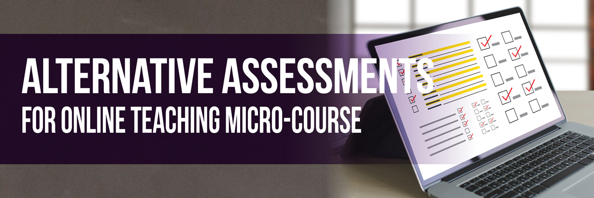 Micro Course Alternative Assessments laptop screen featuring a survey check boxes