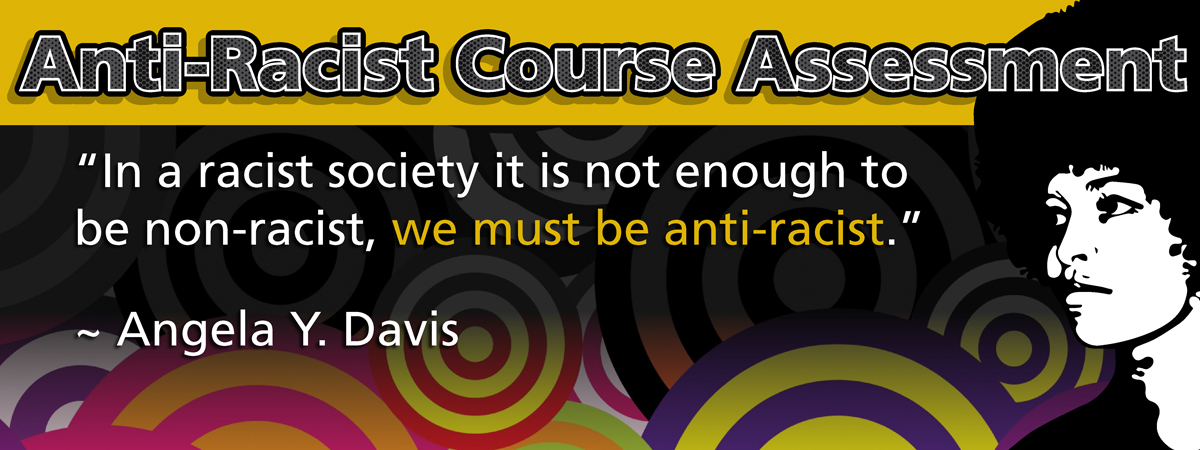 "Anti-Racisms banner with artwork of colored circles and a black and white vector image of Angela Y. Davis. Quote ""In a racist society it is not enough to be non-racist, we must be anti-racist."""